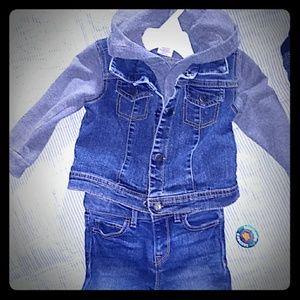 Arizona Jeans Denim hooded sweater jacket Sz 24M